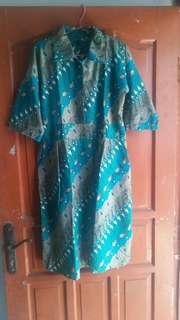 Preloved batik dress hijau