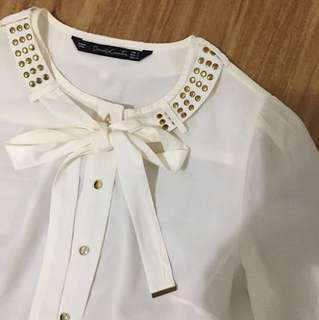 Off white blouse with gold buttons
