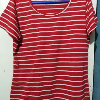 Plus size red striped shirt