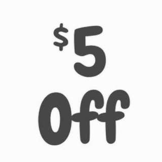 $5 off items priced $10 and above
