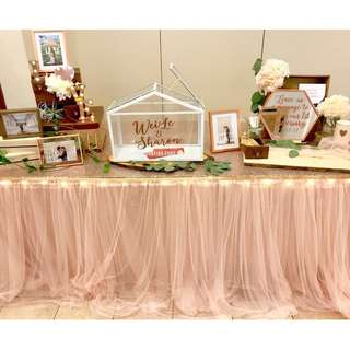 For Rent: Blush tulle table skirting