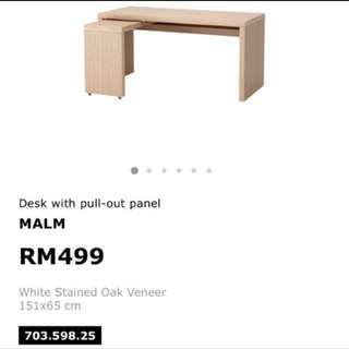 Marked-Down Ikea Malm Desk with Pull-Out Panel / Study Table
