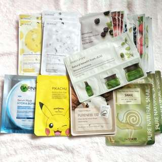 $1-$1.20-$2 Face sheet masks