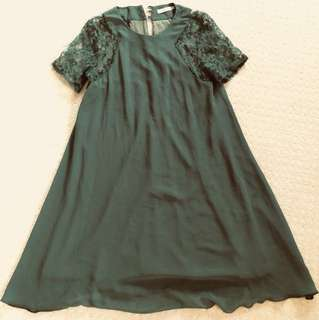Green Swing Dress Lace Arms Au 4-8