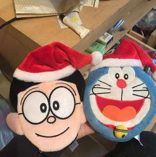 Doraemon 散紙包 暖包袋 一對 (港鐵公司)