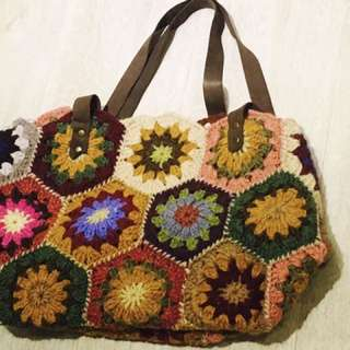 Hand-crocheted granny square bag