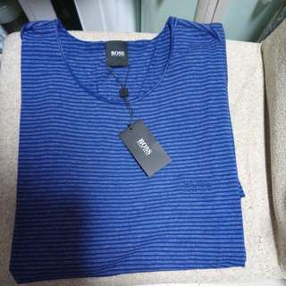 ㊣ HUGO BOSS 短袖 TEE  Size M  ( brand new / Royal Blue with white stripes )