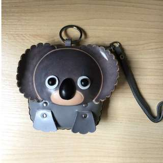 Cute Koala leather magnetic coin pouch with zip