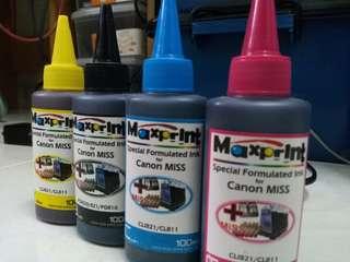 Canon Maxprint Ink Refill New 4bottles