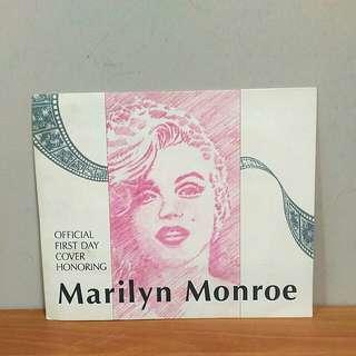 🚚 瑪莉蓮夢露 22K黃金郵票 首日封 Marilyn Monroe