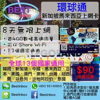 新馬電話卡8日無張上網數據卡 新加坡+馬來西亞通用