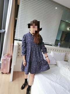 🚚 藍色荷葉領娃娃洋裝
