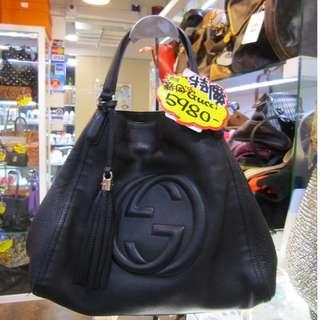Gucci Classic GG Logo Black Leather Disco 黑色 牛皮 手挽袋 手袋 肩袋 袋
