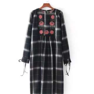 Zara 同款刺繡長洋裝