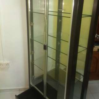 REDUCED! Solid wood glass display cabinet w lights drawers