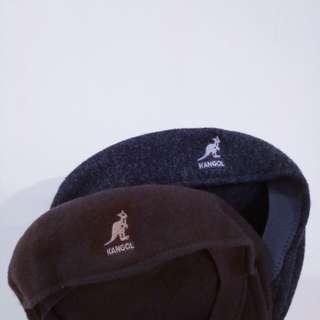 (咖啡)Kangol 袋鼠帽 小偷帽 貝蕾帽 紳士帽 土色 深褐色 高磅 重磅 毛呢 復古 古著 刺繡