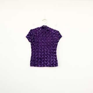 二手 紫色 絨面 壓光紋 彈性 上衣