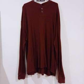 酒紅亨利領羅紋薄長袖 鈕扣圓領 大版型 oversize 復古 布料舒適 土紅 紅棕色 秋冬