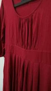 Dress merah model balon