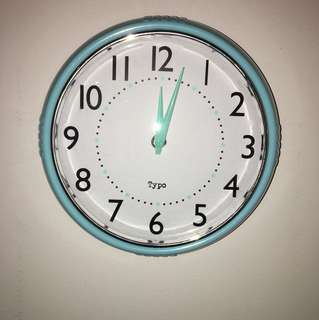 Typo teal wall clock