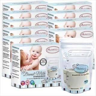 10 x Autumnz Double ZipLock Breastmilk Storage Bag 7oz (25 bags/pack)