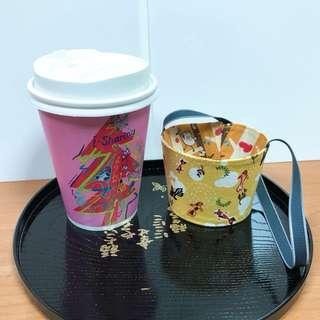 🚚 沛軒手作坊~(厚棉布)便利超商(大或中杯)咖啡杯套環保手提袋,尺寸最長12cm*高6cm提袋長度約30cm杯身高13公分