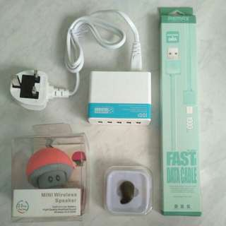 5 port USB Charger, Bluetooth Portable Speaker, Bluetooth Mono Earpiece, 1M USB to micro USB Data Cable