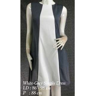White-Grey Simply Dress