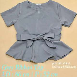 Grey Ribbon Top
