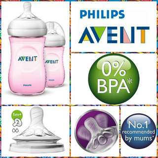 Philips Avent Natural Bottle Pink 9oz/260ml