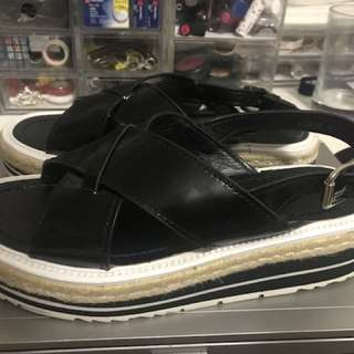 Authentic Prada Wedge Shoes Black