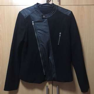 Black jacket with partial leather