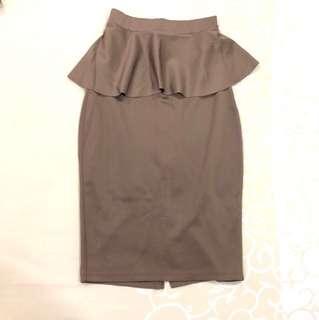Peplum Brown Skirt