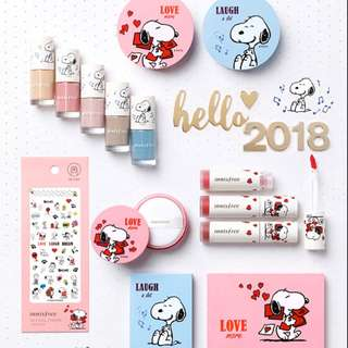 New 2018 New Year Limited Edition Innisfree x Snoopy Makeup Beauty Collection ❤️💗💙 Love Laugh Peanuts