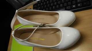 White Leather Round Toe Platform Pumps High Heel Ankle Strap