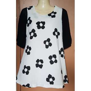 Kirin-Kirin Black & White Flower Design Dress
