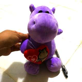 Lil purple hippo heart soft toy