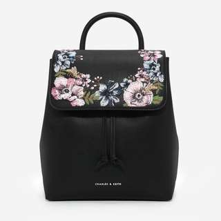 Charles and Keith Black Front Flap Backpack