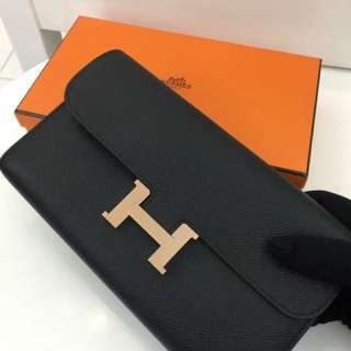 Hermes Constance long wallet black 黑色玫瑰金