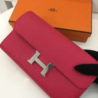Hermes Constance long wallet Epsom I6 玫瑰紅