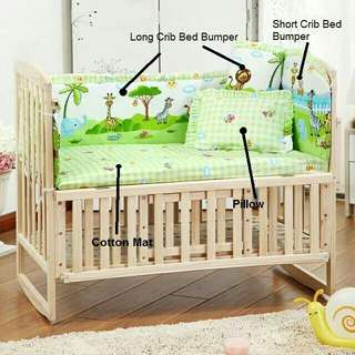 *FREE DELIVERY to WM only / Ready stock*   Kids bumper set of 5 accessories (without baby cot) as shown design/color.    Free delivery is applied for this item.