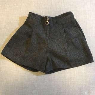 毛絨深灰短褲
