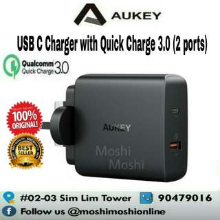 AUKEY USB C Charger 30W PD 3.0 Quick Charge 3.0