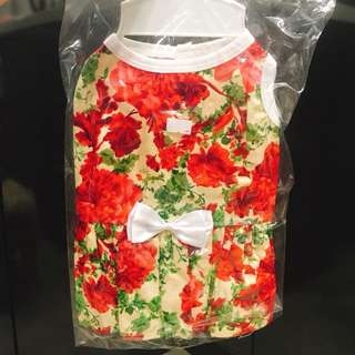 Red floral dress for female dog