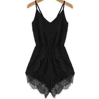 Black scalloped lace Playsuit