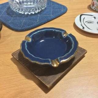 早期 瓷器 煙灰缸 二手  金邊