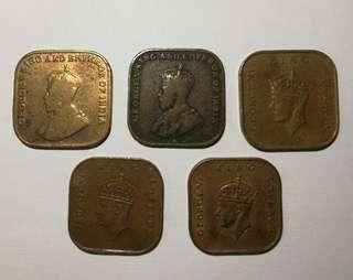 Straits settlements 1 cent (5 pieces)