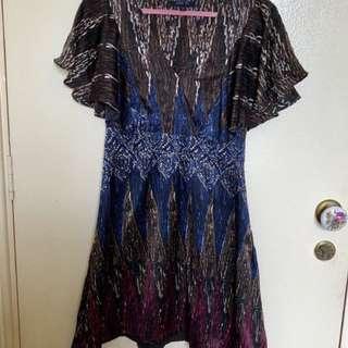ANNA SUI 100% Silk Kimono Lotus Sleeves Dress (C020)