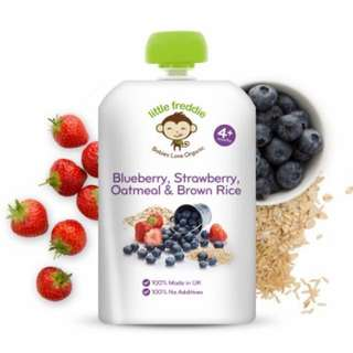 Little Freddie Pouches- Blueberry, Strawberry, Oatmeal & Brown Rice (Organic)