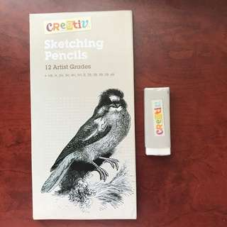 Sketching pencils + eraser